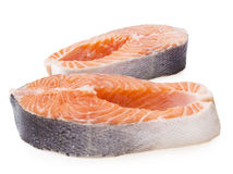 Fresh raw salmon isolated on white background.  Stock Photo
