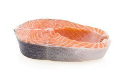 Fresh raw salmon isolated on white background.  Royalty Free Stock Images