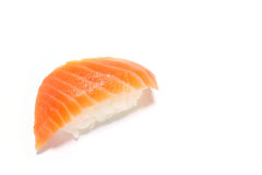 Fresh raw salmon nigiri sushi in white Royalty Free Stock Photo