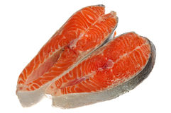 Fresh raw salmon pieces. Isolated on white Stock Photo