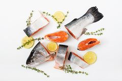 Fresh raw salmon pieces red fish isolated on a white background. Stock Photos