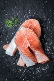 Fresh raw salmon prepared for frying Stock Photography