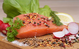 Fresh raw salmon. Ready to cook Stock Images