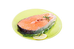 Fresh raw salmon red fish steak with herbs. And spices Stock Photo