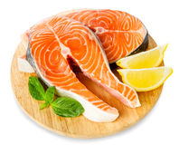 Fresh Raw Salmon Red Fish Steak isolated on a White Background Royalty Free Stock Photos
