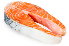Fresh Raw Salmon Red Fish Steak isolated on a White Background Royalty Free Stock Photography