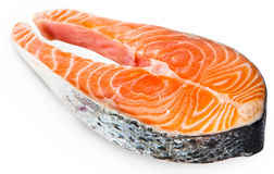 Fresh Raw Salmon Red Fish Steak isolated on a White Background Stock Photo