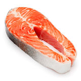 Fresh Raw Salmon Red Fish Steak. Isolated on a White Background Royalty Free Stock Photo