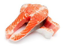 Fresh Raw Salmon Red Fish Steak. Isolated on a White Background Royalty Free Stock Photos