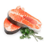 Fresh Raw Salmon Red Fish Steak. Isolated on a White Background Stock Photography