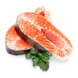Fresh Raw Salmon Red Fish Steak. Isolated on a White Background Stock Image