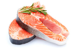 Fresh Raw Salmon Red Fish Steak Stock Photography