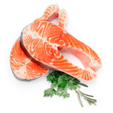 Fresh Raw Salmon Red Fish Steak. Isolated on a White Background Stock Photo