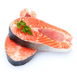 Fresh Raw Salmon Red Fish Steak Stock Images