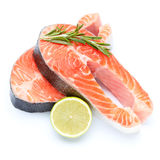 Fresh Raw Salmon Red Fish Steak. Isolated on a White Background Royalty Free Stock Images