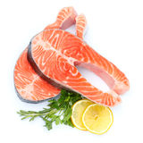 Fresh Raw Salmon Red Fish Steak. Isolated on a White Background Royalty Free Stock Image