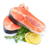 Fresh Raw Salmon Red Fish Steak. Isolated on a White Background Stock Photos