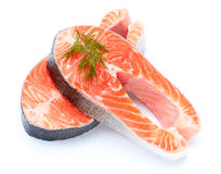 Fresh Raw Salmon Red Fish Steak. Isolated on a White Background Stock Images