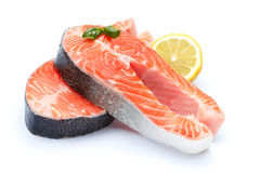Fresh Raw Salmon Red Fish Steak. Isolated on a White Background Royalty Free Stock Photography