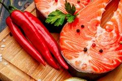 Fresh Raw Salmon Red Fish Steak Stock Photography