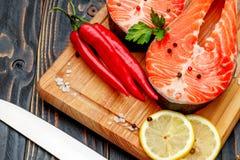 Fresh Raw Salmon Red Fish Steak Royalty Free Stock Photography