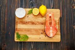 Fresh Raw Salmon Red Fish Steak Stock Photo