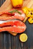 Fresh Raw Salmon Red Fish Steak Stock Image