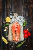 Fresh Raw Salmon Red Fish Steak Royalty Free Stock Photos