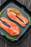Fresh Raw Salmon Red Fish Steak Stock Images