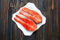Fresh Raw Salmon Red Fish Steak Royalty Free Stock Images