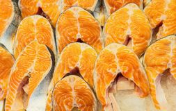 Fresh Raw Salmon Red Fish Steaks. In a market Stock Photo