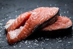 Fresh raw salmon on a rock. Fresh raw salmon on a black rock Royalty Free Stock Photography