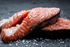 Fresh raw salmon on a rock. Fresh raw salmon on a black rock Royalty Free Stock Image