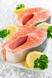 Fresh raw salmon with salt and lemon on. Fresh raw salmon green red closeup market Royalty Free Stock Images