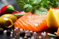 Fresh raw salmon with salt and pepper on dark. Fresh raw salmon green red closeup market Stock Photos