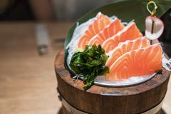 Fresh raw salmon,  sashimi - japanese foodTop. View. Healthy food concept Royalty Free Stock Images