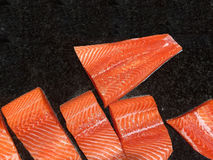 Fresh Raw Salmon. Fresh Raw Salmon at the selling point in supermarket Stock Image