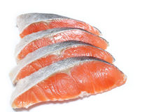 Fresh raw salmon slice in the white #2. Fresh raw salmon slice in the white background Stock Photography