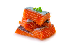 Fresh raw salmon slices isolated . Salmon fillet isolated on white background. Fresh raw salmon fillet Stock Photography