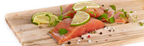 Fresh Raw salmon with spices. Fresh salmon fillet with oregano and lime slices. Selective focus Stock Photography