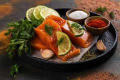 Fresh raw salmon steak. On dark background. Cooking or grill concept. Space for text Stock Images