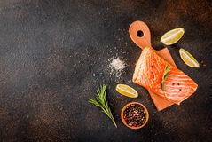 Fresh raw salmon steak fillet. Fresh raw fish salmon, steak fillet, with spices, lime, rosemary, salt, on a dark rusty background, copy space top view Royalty Free Stock Image