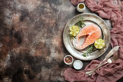 Fresh raw salmon steak. Lemon, rosemary and spices on metal plate over dark rustic concrete background, top view with copy space. Ingredients set for making Stock Photo