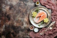Fresh raw salmon steak Stock Photo