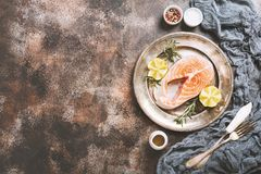 Fresh raw salmon steak Stock Images