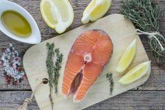 Fresh raw salmon steak Stock Image