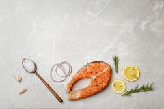 Fresh raw salmon steak and seasonings. On gray background, top view Stock Images