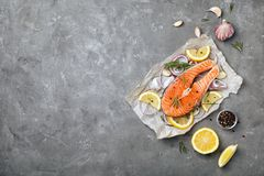 Fresh raw salmon steak with seasonings. On gray background, top view Stock Images