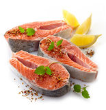 Fresh raw salmon steak slices. On a white background Stock Photography