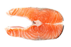 Fresh raw salmon steak slices. Fresh raw salmon steak slices on a white background Stock Photo